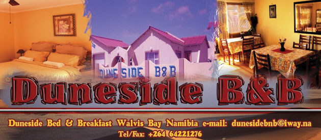 duneside b&b self catering, walvis bay self catering, bed and breakfast namibia, free dstv and wi-fi accommodation walvis bay, family and business accommodation